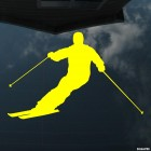 Decal skier beautifully goes down from the mountain, extreme winter sports