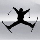 Decal skier freestyle trick, extreme winter sports