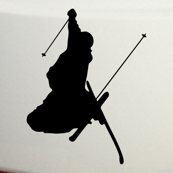 Decal freestyle skier jumping, extreme winter sports