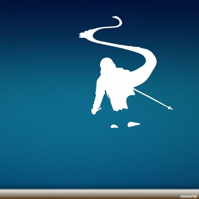 Decal skier flies through the pow, extreme winter sports