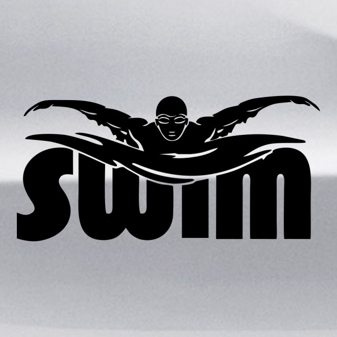 Decal swimming SWIM title