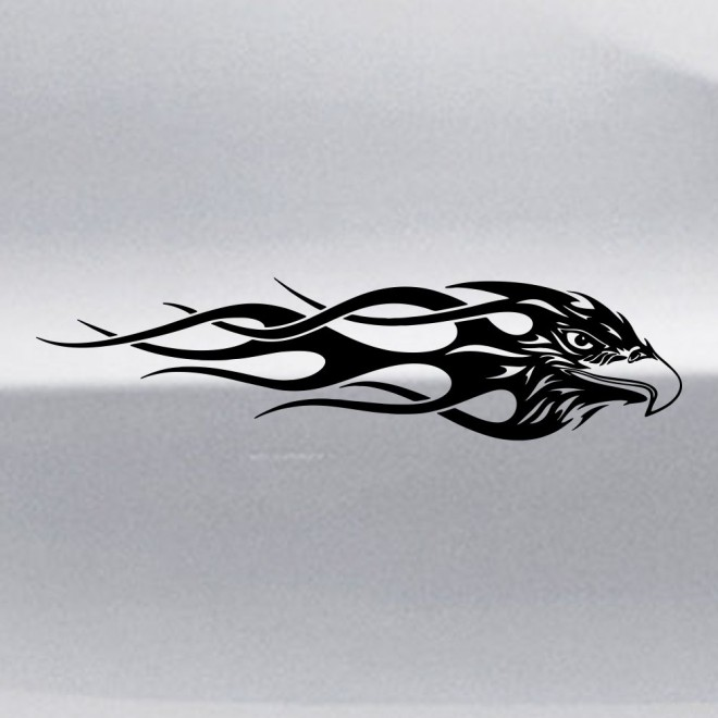 Decal birds head with flames