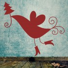 Decal bird with christmas tree