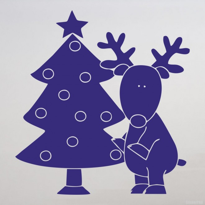 Decal reindeer & christmas tree
